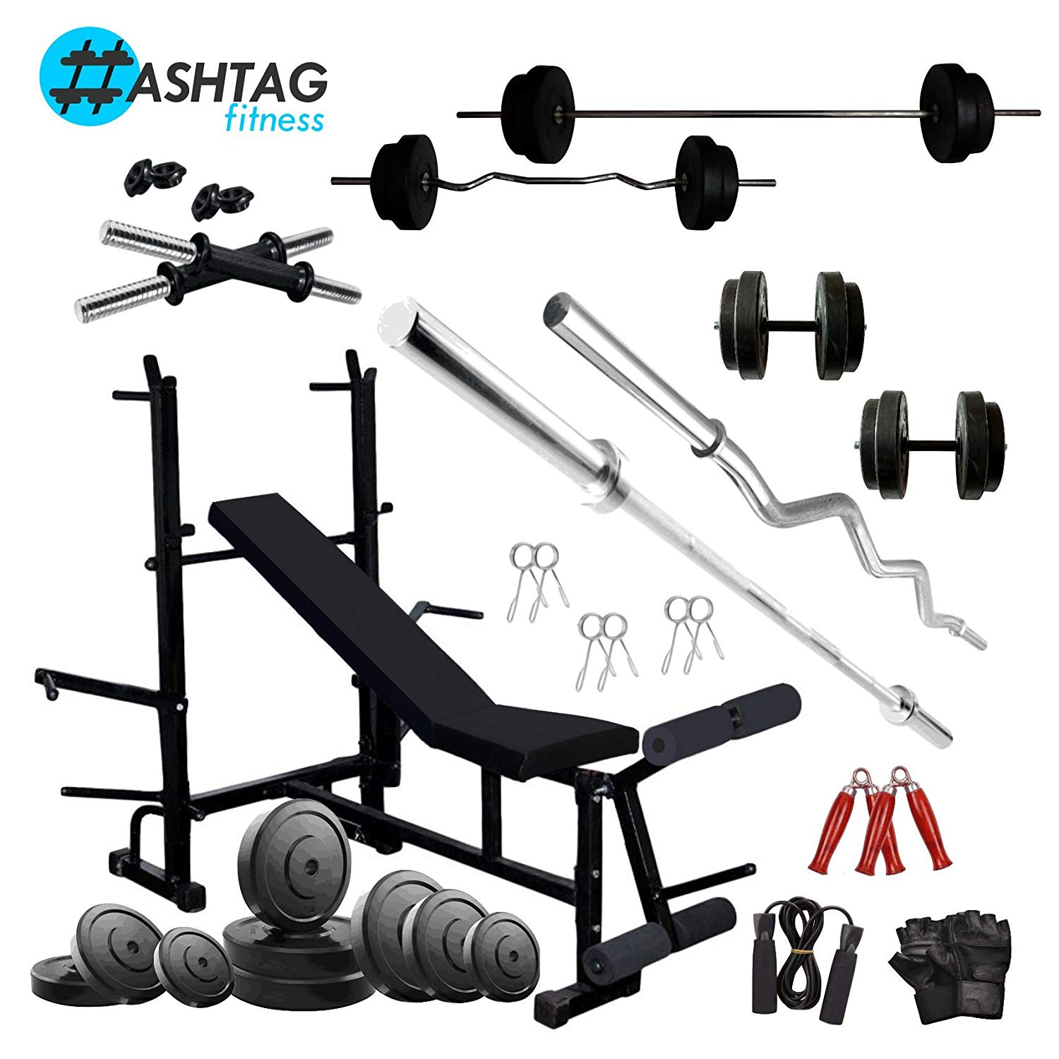 HASHTAG FITNESS 60 kg Rubber Home Gym Combo kit & fitness ...