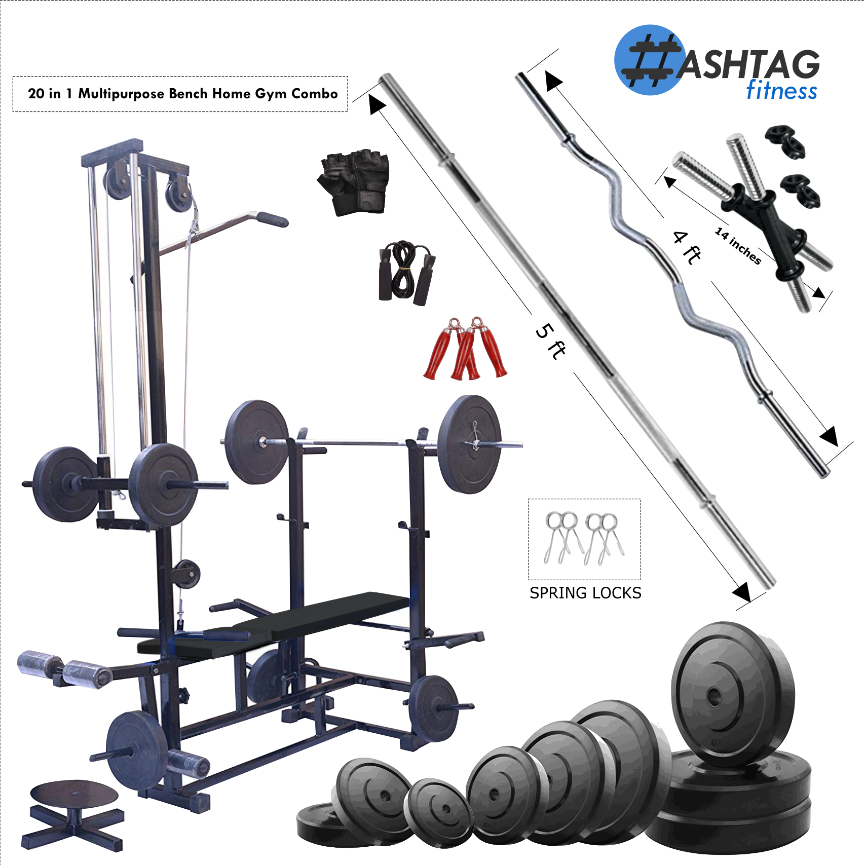 HASHTAG FITNESS | 20in1 gym bench & rubber gym equipments 60kg